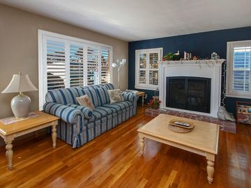 Capitola apartment rental - Bright and open living room with fireplace