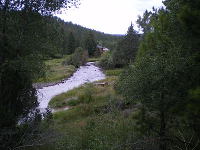 View from deck facing west over Mammoth Creek. Trout with your name on them!