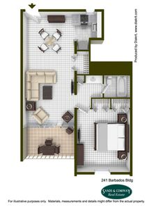 Artist rendering floorplan showing you the generously sized private bedroom