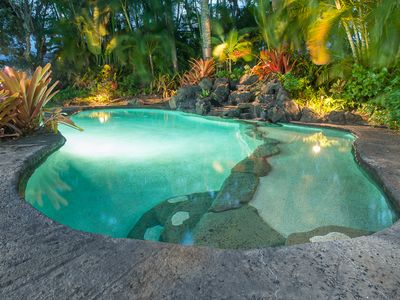 Your private lagoon-style pool is 33 ft plus large waterfall