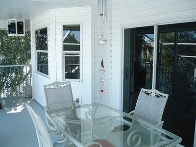 upper balcony- enter from either livingroom or bedroom. Enjoy dinner outdoors
