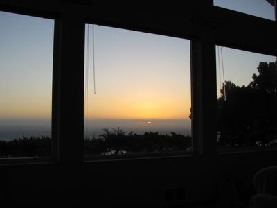 Newport house rental - Sunset from the sofa!