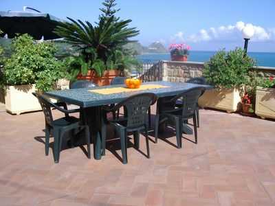 Palms villa with sea view and garden in Sicily