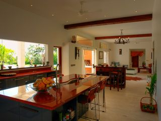 Las Terrenas house photo - Kitchen Center Island looking onto the garden, ocean, and living room