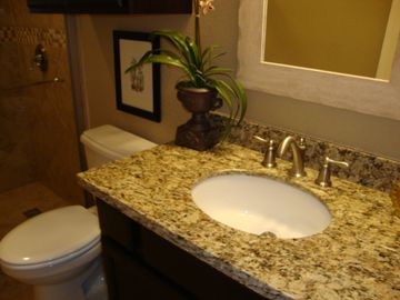 Granite countertops in both bathrooms