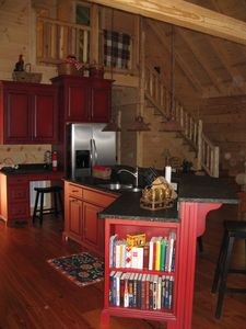 Sugar Mountain cabin rental - Kitchen view and stairway to second floor
