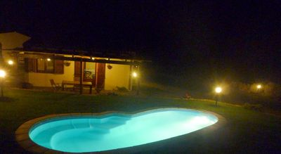 Night view villa with pool