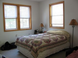 Eastbrook house photo - Queen size plush in master bedroom, lake view, gas heat, fold-out toddler bed.