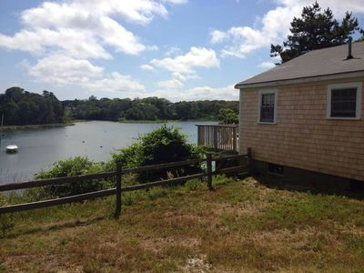 Chatham cottage rental - View of Taylor's Pond from side yard of one of the two waterfront cottages