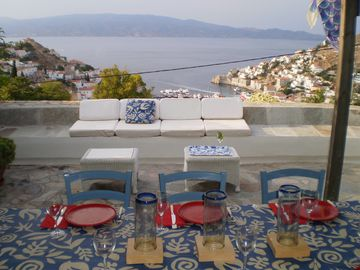 The main terrace at Villa Helios with a spectacular view !