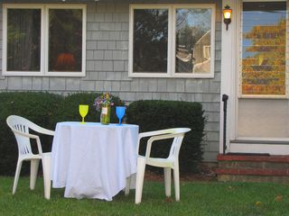 Mashpee house photo - Enjoy a glass of wine on the front lawn