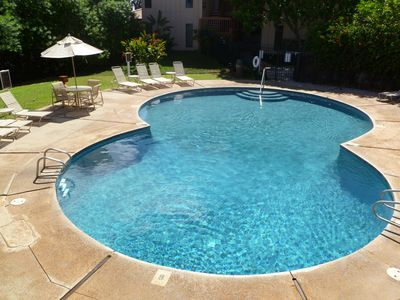Pool is a few feet from the front door with sunny and shady areas
