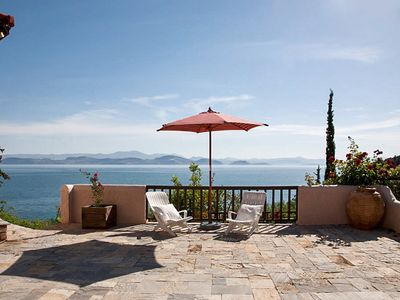 Stunning villa just outside a charming village, w/ panoramic sea views, 50m from private beach