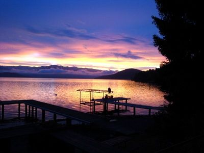 Another fabulous sunset - our dock on the left.