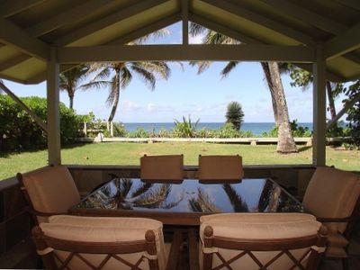 Oceanfront Lanai is perfect for dining, relaxing and enjoying the view