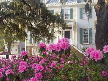Savannah condo rental - Front of Bird Baldwin House facing Liberty Street with azaleas in bloom