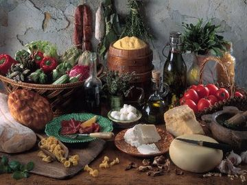 Local products of the world famous cretan cuisine.
