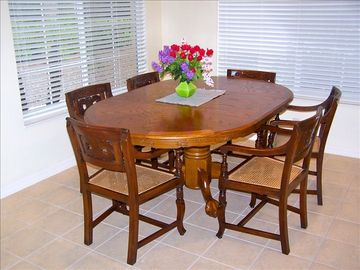 Dining table and handcarved chairs
