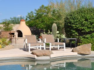 Scottsdale Troon house photo - East view from one of the pool's sitting areas and the Kiva - get the Smores!