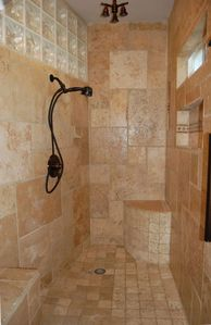 Brand New -Travertine Stone and Glass Block Shower - Ready and Waiting for you!