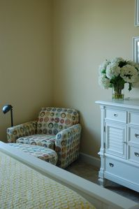 Cozy lounge chair + ample dresser storage
