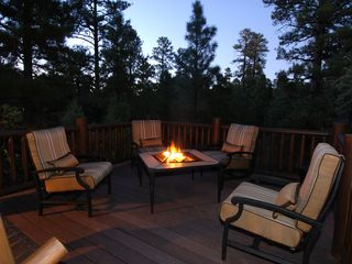 Show Low cabin photo - Patio at night