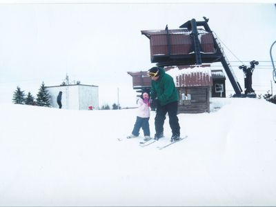 Our son teaches our granddaughter to ski and as you can see there are no lines:)