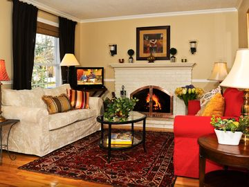 Living room with fireplace for chilly days, HDTV Satellite, WII console