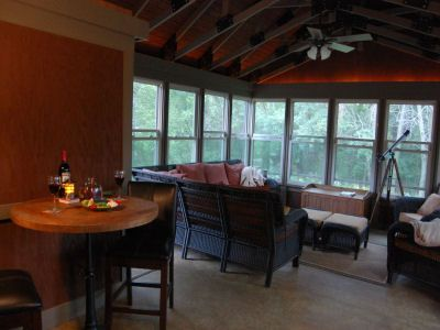 Welcome to At Harvest Home & enjoy the enclosed patio, always a guest favorite.