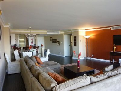 Living room with 42' LCD TV on custom designed copper wall