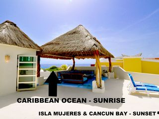 Isla Mujeres villa photo - ROOF TOP PALAPA LOUNGE SUNSET AND SUNRISE UNOBSTRUCTED CARIBBEAN AND BAY VIEWS