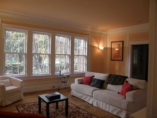 Atlanta house photo - Living room has working wood fireplace and windows with view of patio.