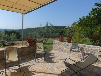 Relaxing on deckchairs with views across estate olive trees & woodlands