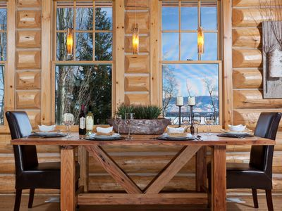 Teton Village house rental - Country mountain dining table, adjustable brightness cable pendant lighting