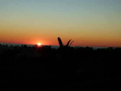 Clube Golfemar villa rental - sunset from the patio