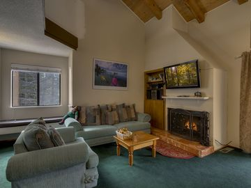 Carnelian Bay townhome rental - Living Area - Fire Place and Large Flat Panel TV