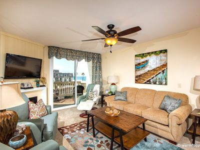 The gorgeous ocean-view living room w/queen size sofa has just been refurnished.