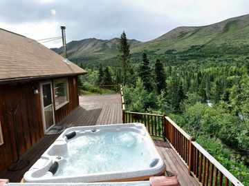 Chugiak house rental - Hot tub view up the valley