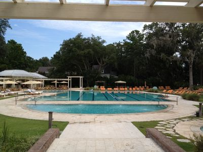Palmetto Bluff house rental - Canoe Club pool. 80ft salt water solution horizon pool w/ 5 lap lanes.