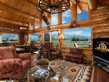 Great room looking to the Tetons, as sitting on the western couch.