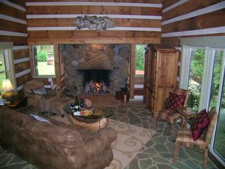 Boone cabin photo - Restful Living Room and Wood Fire