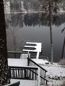 View of the dock in winter.