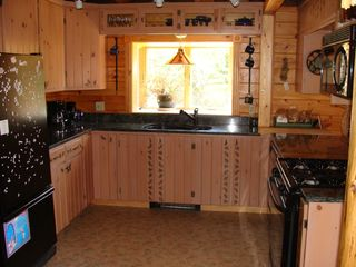 Trenton cabin photo - Well-stocked kitchen with granite counters and gas stove