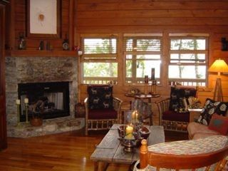 Maggie Valley house photo - Living room with stone fireplace