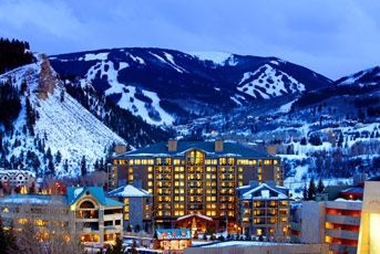 Looking at the Westin Riverfront Resort with Beaver Creek Mountain in the back.