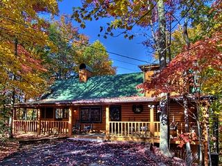 Pigeon Forge cabin photo - Outside view of cabin nestled in a wooded perfect setting