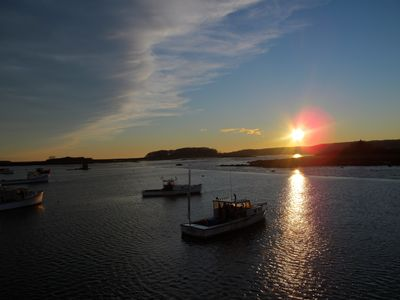 Lobster Boats moored in Cape Porpoise Harbor at Sunset