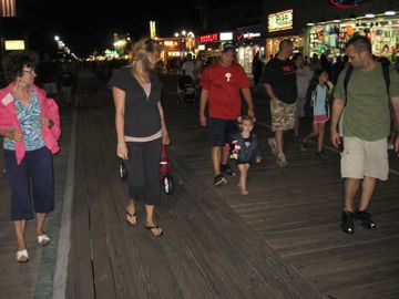 Nightime on the boardwalk. Two and a half miles of fun and food.