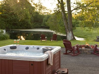 Hot tub, firepit and pond