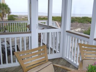 Harbor Island house photo - Screened porch & open deck off living area offer unobstructed views to the sea.